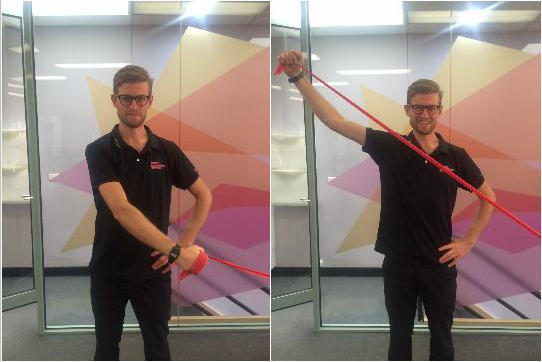 "Exercise 2: Sword-Pulls - From opposite waist, tension band by pulling arm and shoulder blade upward and back like drawing a sword. ""Hoorah!"""